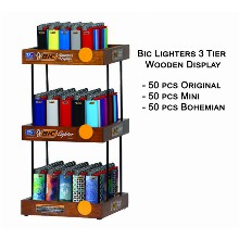Bic Lighters 3 Tier Wooden Display