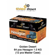 Golden Desert Charcoal Hexagons 1 Kg 64 Pcs