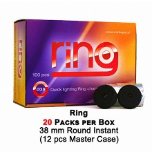 Ring Fast Burn Charcoal Rounds 38mm 20 Packs Per Box
