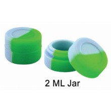 2 Ml Half White And Half Green Silicone Jar