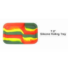 7 Inch Silicone Rolling Tray 3 Colored Stripes