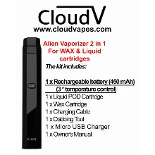 Alien Vaporizer 2 In 1 For Wax And Liquid Cartridges 450 Mah