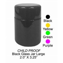 Black Glass Jar Large 2 Inch X 3.25 Inch