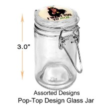 3 Inch Pop top Design Glass Jar