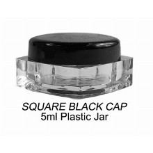 5ml Square Black Cap Plastic Jar