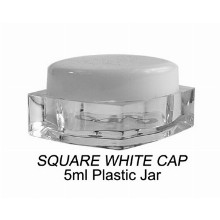5ml Square White Cap Plastic Jar