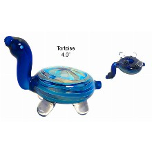 4 Inch Blue Turtle Glass Hand Pipe