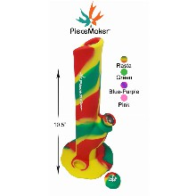 10.5 Inch Piecemaker Rasta Silicone Straight Shooter With Removable Cap