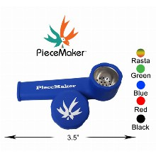 3.5 Inch Piecemaker Silicone Blue Hand Pipe With Removable Cap