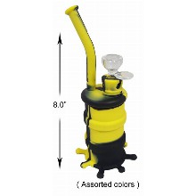 8.0 Inch Black And Yellow Silicone Water Pipe