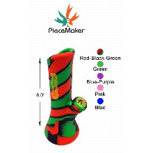 8.0 Inch Piecemaker Red black green Kali Silicone Bong With Removable Cap