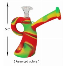 5.0 Inch Colorful Silicone Water Pipe With Handle