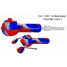 2 In 1 Red white blue Silicone Nectar Collector And Hand Pipe