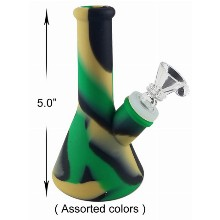 5.0 Inch Cream Black Green Silicone Water Pipe
