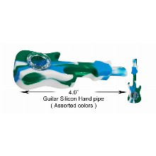4.0 Inch White green blue Guitar Silicone Hand Pipe