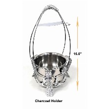 15 Inch Silver Color Metal Charcoal Holder