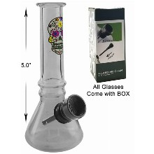 5 Inch Beaker Water Pipe With Skull And Black Downstem
