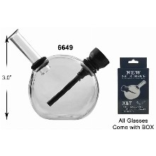 3 Inch Clear Glass Water Pipe With Black Downstem