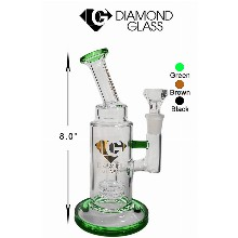 8 Inch Green Diamond Glass Straight Shooter Water Pipe