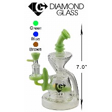 7 Inch Green Diamond Glass Water Pipe