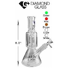 8 Inch White Clear Diamond Glass Percolator Water Pipe