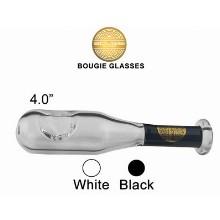 4 Inch White Black Bat Bougie Glass Pipe