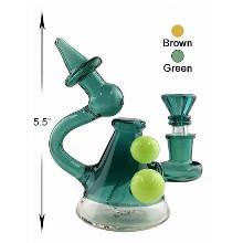 5.5 Inch Green Brown Water Pipe Unique Desgin