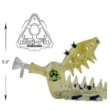 5 Inch Yellow Jaws Sci fi Glass Water Pipe