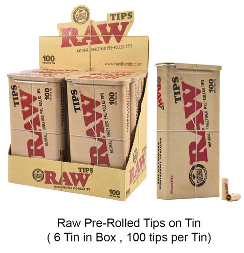Raw Pre rolled Tips On Tin