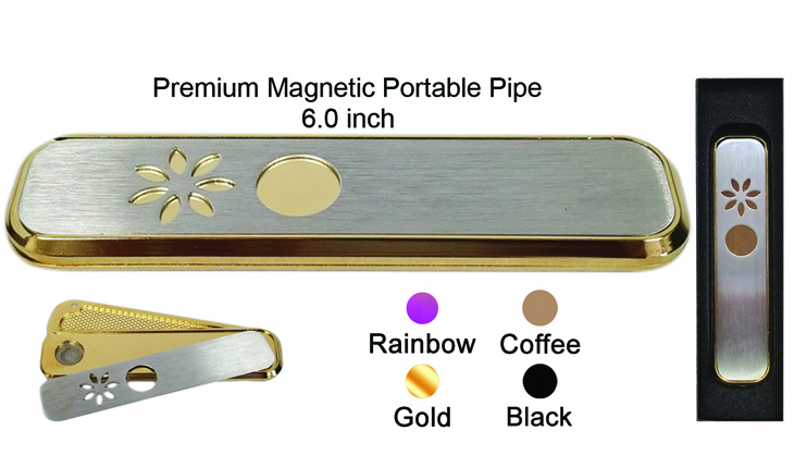 6 Inch Gold Black Rainbow Coffee Premium Magnetic Portable Pipe