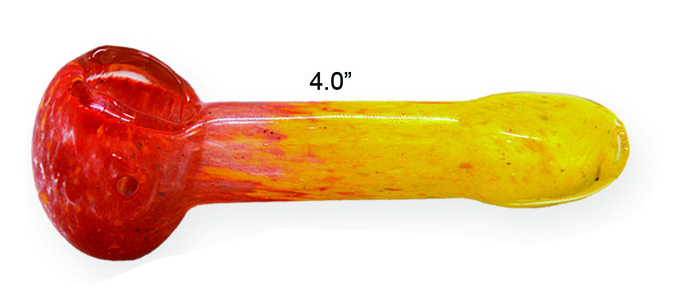 4 Inch Red yellow Glass Hand Pipe