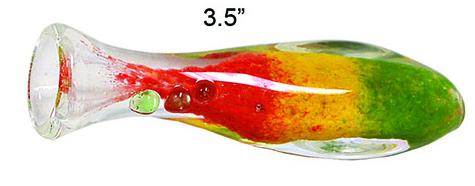 3.5 Inch Rasta Glass Chillum