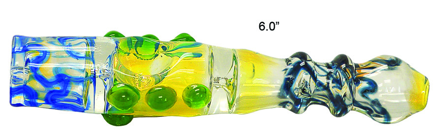 6 Inch Yellow And Blue Chillum