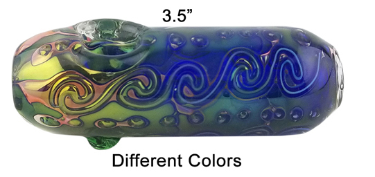 3.5 Inch Blue Yellow Glass Hand Pipe