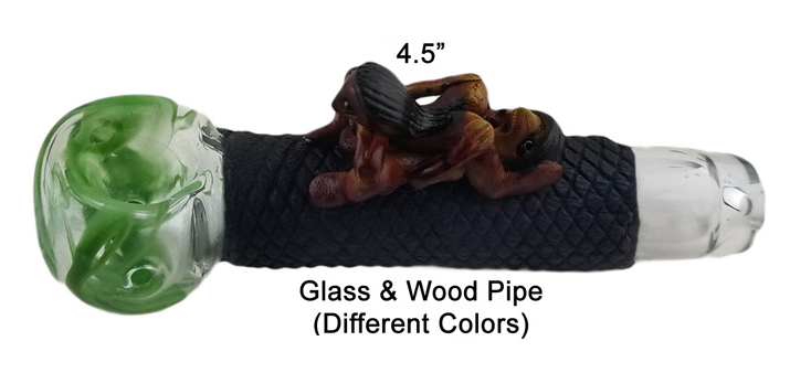 4.5 Inch Glass And Wood Pipe