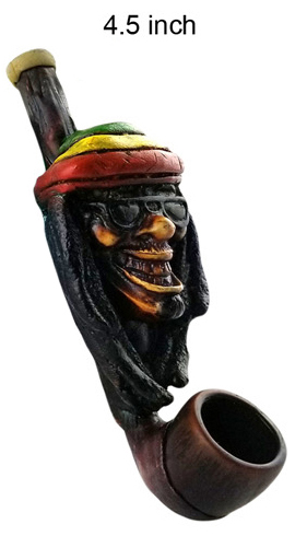 4.5 Inch Wooden Rasta Face Hand Pipe
