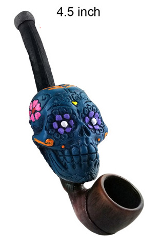 4.5 Inch Blue Skull Wooden Pipe