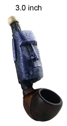 3 Inch Blue Totem Wooden Pipe