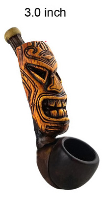 3 Inch Brown Totem Wooden Pipe
