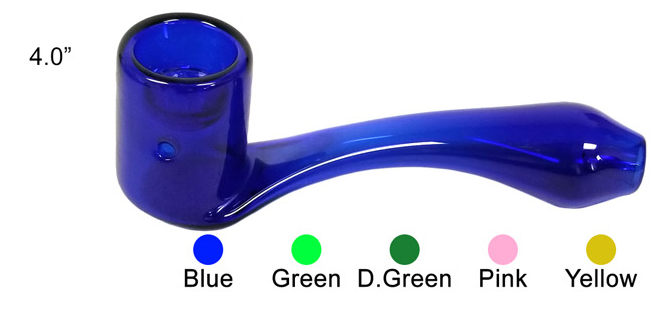 4 Inch Blue Glass Hand Pipe