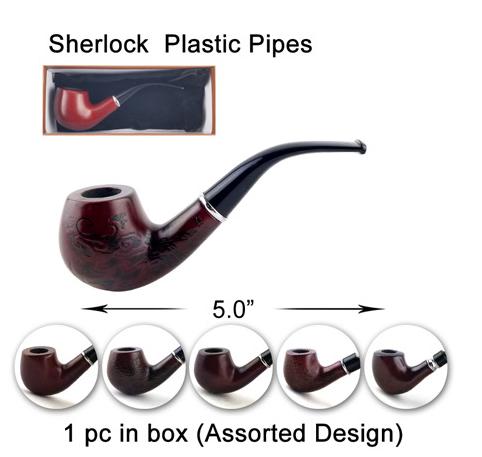 5 Inch Dark Brown Sherlock Plastic Pipes