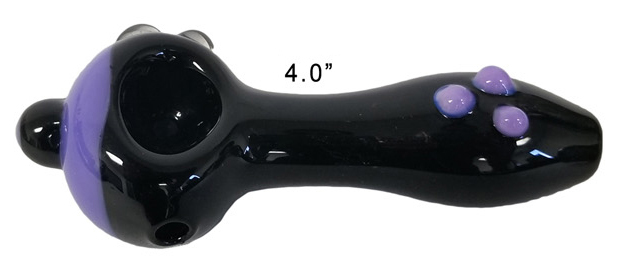 4 Inch Black And Purple Glass Hand Pipe