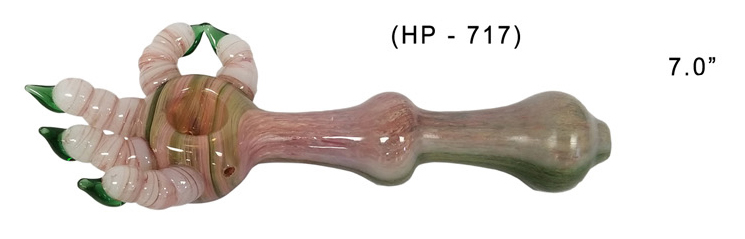 7.0 Inch Palm Shape Glass Hand Pipe