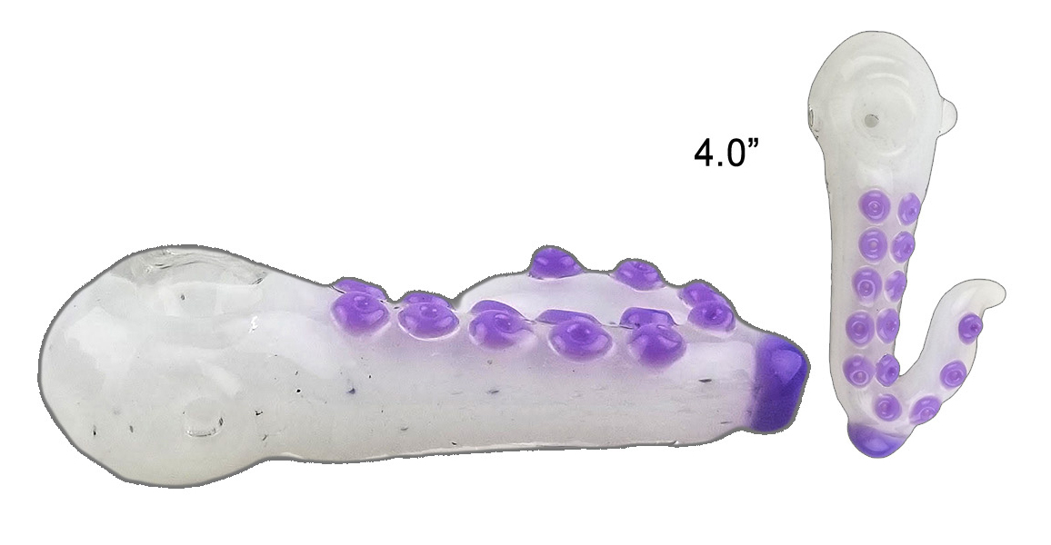 4.0 Octopus Glass Hand Pipe White And Purple Colors