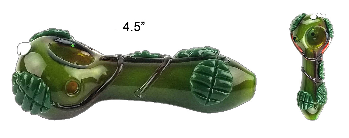 4.5 Inch Green Leaves Glass Hand Pipe