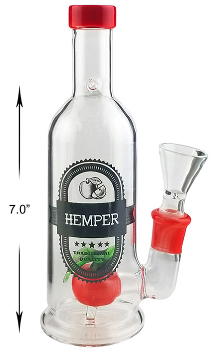 7 Inch Red Bottle Percolator Water Pipe