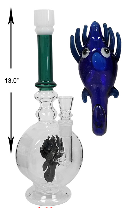 13 Inch Percolator Water Pipe With Blue Monster Head