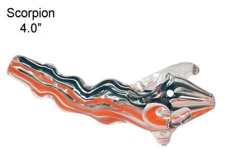 4.0 Inch Scorpion 2 Stripes Colored Glass Pipe