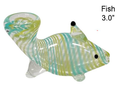 3.0 Inch Fish Stripes Colored Glass Hand Pipe