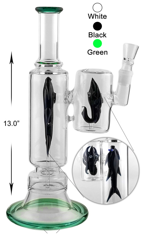 13 Inch Straight Shooter Water Pipe With Black Fish